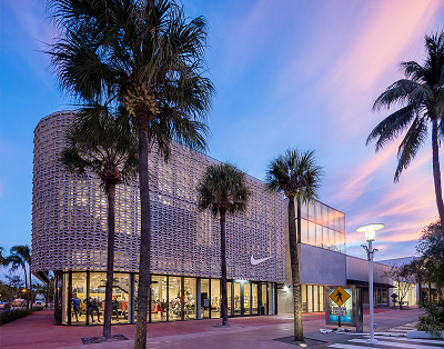 UHPC Panels for Building Facade - Nike flagship store in Miami, USA, 2017